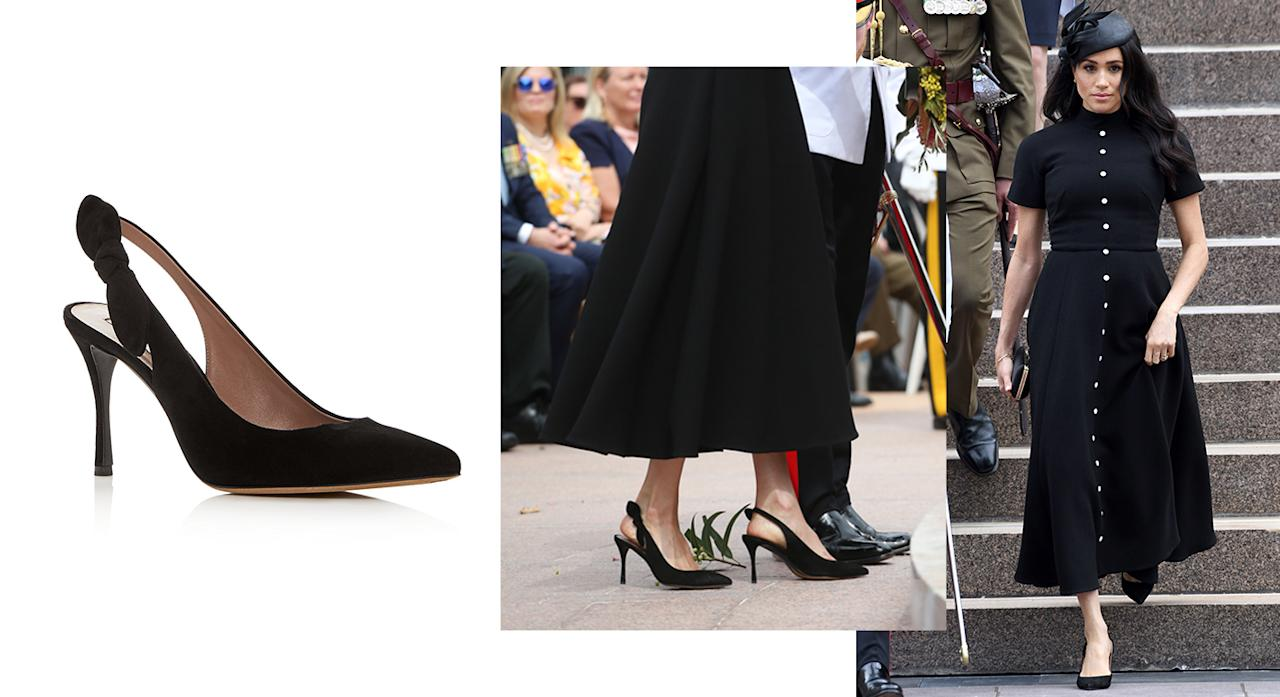 """<p>The Duchess of Sussex dressed for the Anzac memorial opening on day five of the royal tour in a bespoke Emilia Wickstead dress but it was her shoes that really stole the spotlight. For those of you interested in her £566 go-to heels by Tabitha Simmons, they're available to still purchase from the website. <strong><a rel=""""nofollow"""" href=""""https://www.bloomingdales.com/shop/product/tabitha-simmons-womens-millie-slingback-pointed-toe-pumps?ID=2956738&PartnerID=LINKSHARE&cm_mmc=LINKSHARE-_-n-_-n-_-n&ranMID=37205&ranEAID=QFGLnEolOWg&ranSiteID=QFGLnEolOWg-yliFTBxGUGXhLMh6WQXvLA&LinkshareID=QFGLnEolOWg-yliFTBxGUGXhLMh6WQXvLA&ranPublisherID=QFGLnEolOWg&ranLinkID=1&ranLinkTypeID=15&ranMID=37206&ranEAID=QFGLnEolOWg&ranSiteID=QFGLnEolOWg-1lSo8XAy.R9BM9f_ns7WdQ&LinkshareID=QFGLnEolOWg-1lSo8XAy.R9BM9f_ns7WdQ&ranPublisherID=QFGLnEolOWg&ranLinkID=1&ranLinkTypeID=15&ranMID=37206&ranEAID=TnL5HPStwNw&ranSiteID=TnL5HPStwNw-AQJP9WrM0jnj5oJSuHw3Cw&LinkshareID=TnL5HPStwNw-AQJP9WrM0jnj5oJSuHw3Cw&ranPublisherID=TnL5HPStwNw&ranLinkID=1&ranLinkTypeID=10&ranMID=37206&ranEAID=TnL5HPStwNw&ranSiteID=TnL5HPStwNw-Fy_vVPLnOqvB7pj62eZoxA&LinkshareID=TnL5HPStwNw-Fy_vVPLnOqvB7pj62eZoxA&ranPublisherID=TnL5HPStwNw&ranLinkID=1&ranLinkTypeID=10"""">Shop now</a></strong>. <em>[Photo: Getty]</em> </p>"""
