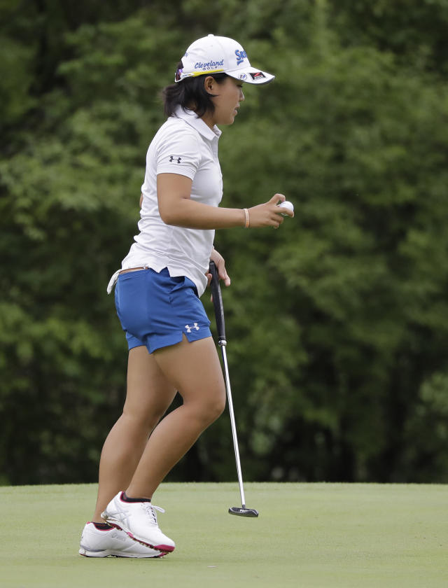 Nasa Hatoka, of Japan, reacts after a birdie on the sixth hole during the second round of the Indy Women in Tech Championship golf tournament, Friday, Aug. 17, 2018, Indianapolis. (AP Photo/Darron Cummings)
