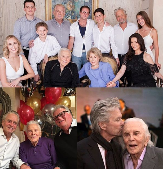 Various photos of actor Kirk Douglas with his extended family.