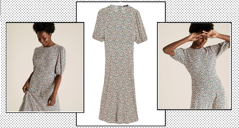 M&S' new Puff Sleeve Midaxi Dress is a spring must have this season.  (Marks and Spencer/ Yahoo Style UK)