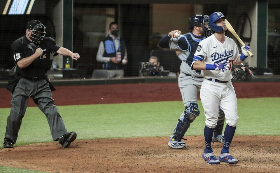Dodgers center fielder Cody Bellinger strikes out in the eighth inning of Game 2 against the Rays.