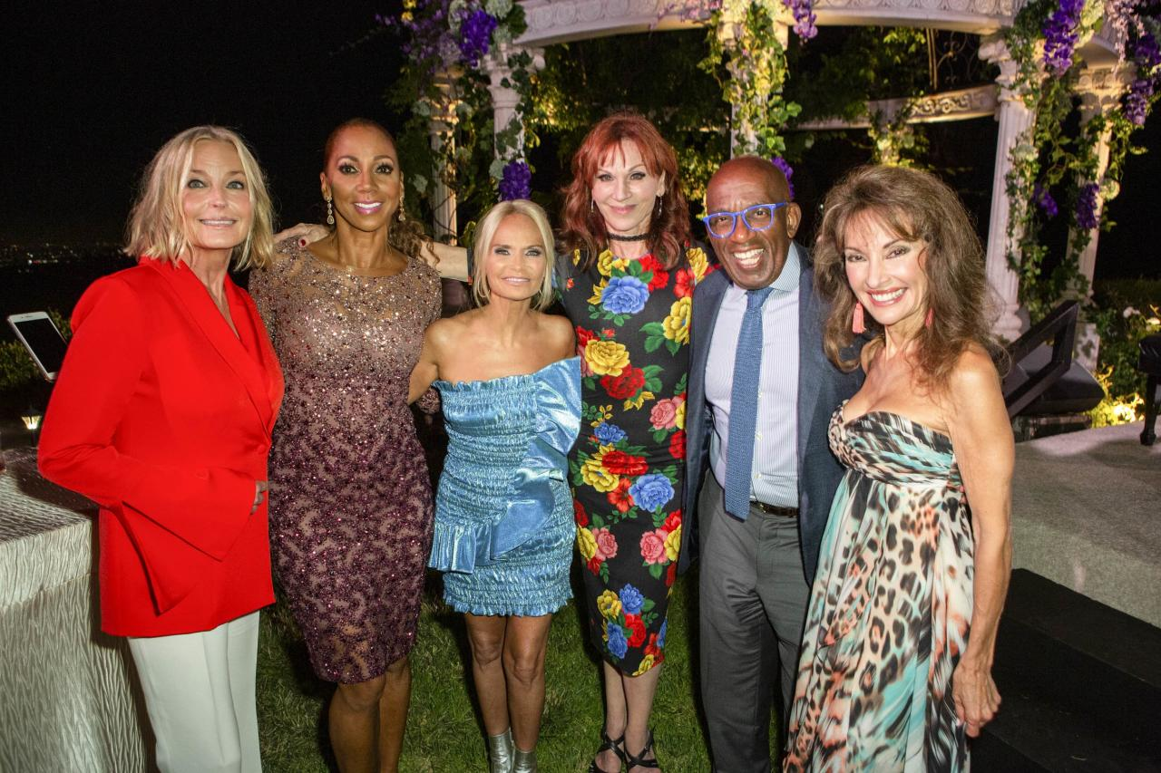 Bo Derek, Holly Robinson Peete, Kristin Chenoweth, Marilu Henner, Al Roker, and Susan Lucci caught up at Hallmark Channel's 2019 Summer TCA party in Beverly Hills.