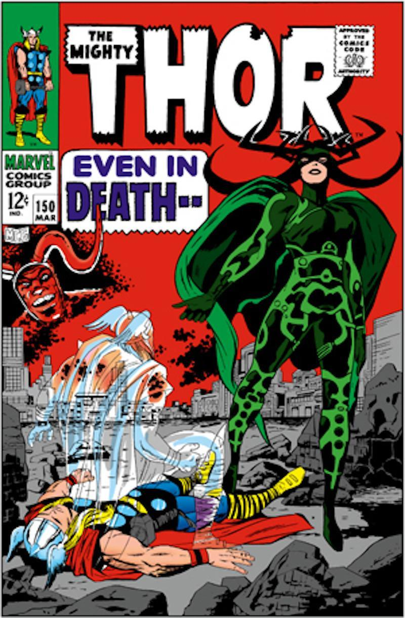 Thor, Surtur, and Hela on the cover of <i>The Mighty Thor</i> No. 150, a source for <i>Ragnarok</i>. (Image: Marvel Comics)