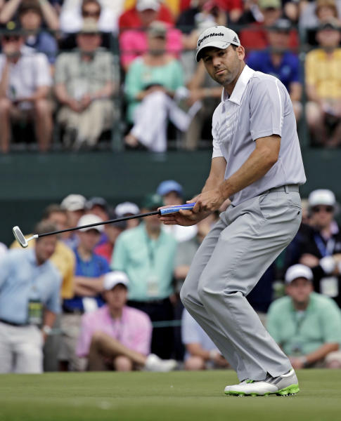 Sergio Garcia, of Spain, misses a birdie putt on the first hole during the second round of the Masters golf tournament Friday, April 12, 2013, in Augusta, Ga. (AP Photo/David J. Phillip)