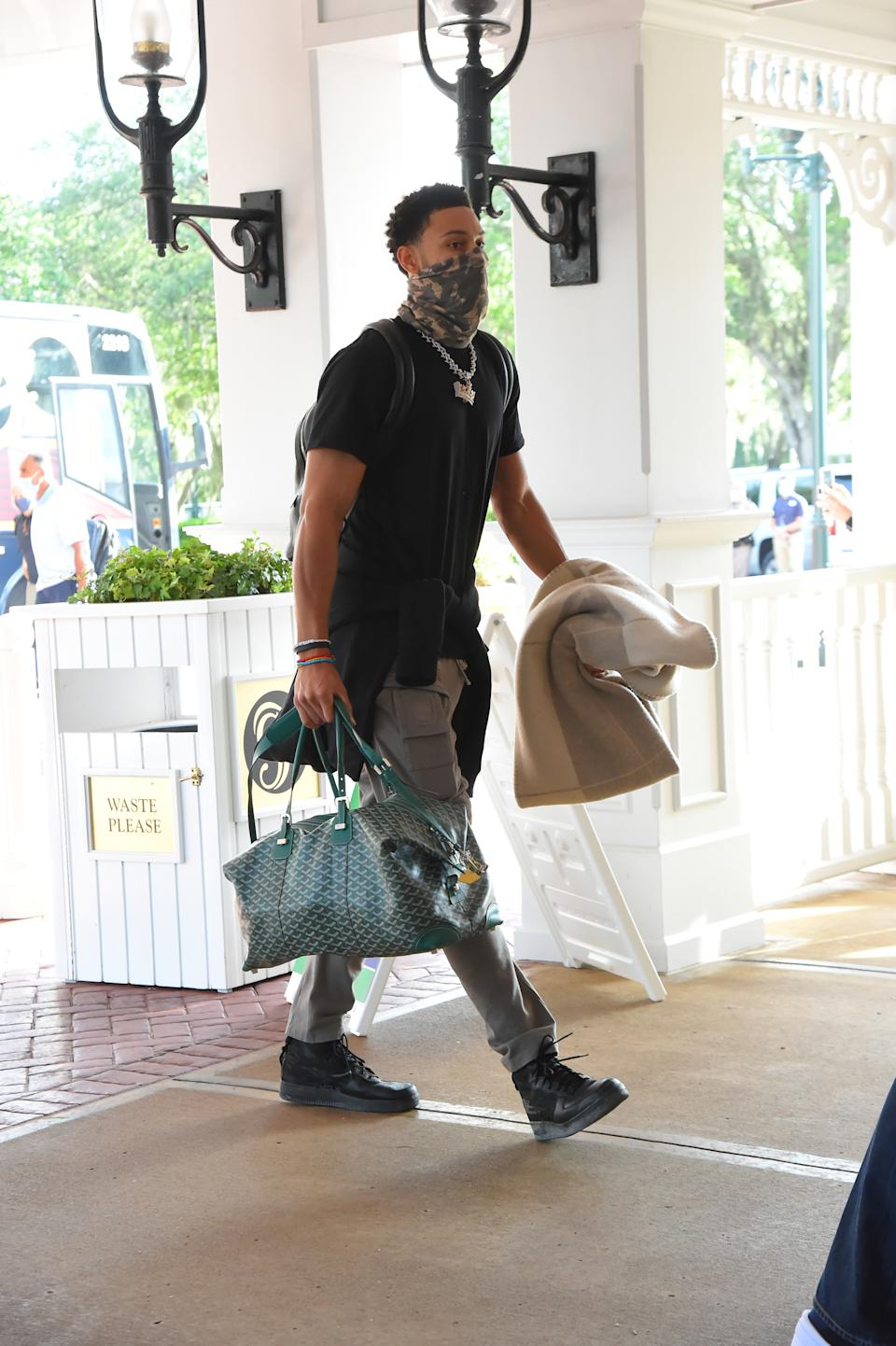 Ben Simmons of the Philadelphia 76ers arrives at the hotel as part of the NBA Restart 2020 on July 9, 2020 in Orlando, Florida. (Photo by Bill Baptist/NBAE via Getty Images)
