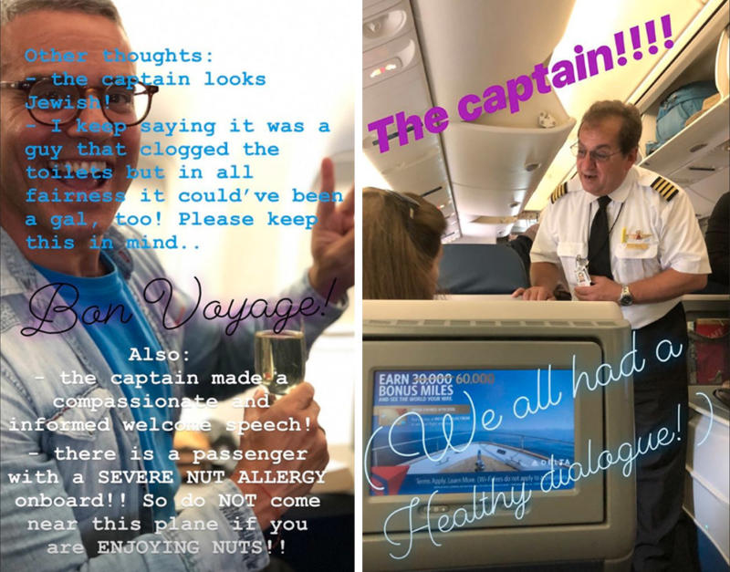 Delta passenger Andy Cohen was on a plane from New York JFK to Nice France that turned back becauseof a broken toilet.