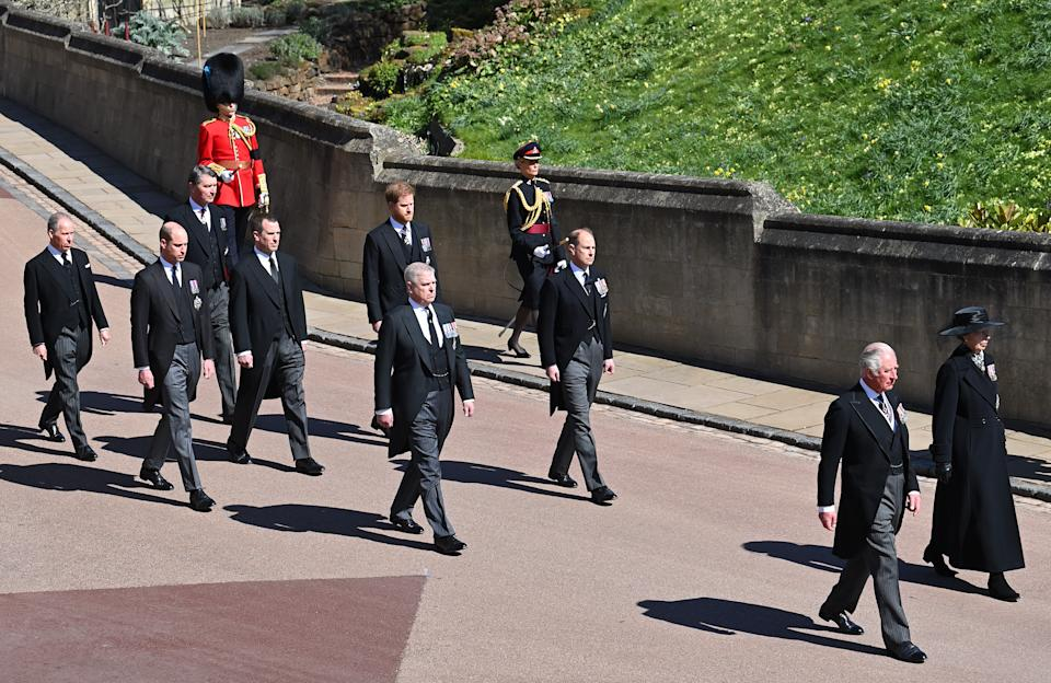 WINDSOR, UNITED KINGDOM - APRIL 17: (EMBARGOED FOR PUBLICATION IN UK NEWSPAPERS UNTIL 24 HOURS AFTER CREATE DATE AND TIME) Prince Charles, Prince of Wales, Princess Anne, Princess Royal, Prince Andrew, Duke of York, Prince Edward, Earl of Wessex, Prince William, Duke of Cambridge, Peter Phillips, Prince Harry, Duke of Sussex, David Armstrong-Jones, 2nd Earl of Snowdon and Vice Admiral Sir Timothy Laurence take part in Prince Philip, Duke of Edinburgh's funeral procession to St. George's Chapel, Windsor Castle on April 17, 2021 in Windsor, England. Prince Philip of Greece and Denmark was born 10 June 1921, in Greece. He served in the British Royal Navy and fought in WWII. He married the then Princess Elizabeth on 20 November 1947 and was created Duke of Edinburgh, Earl of Merioneth, and Baron Greenwich by King VI. He served as Prince Consort to Queen Elizabeth II until his death on April 9 2021, months short of his 100th birthday. His funeral takes place today at Windsor Castle with only 30 guests invited due to Coronavirus pandemic restrictions. (Photo by Pool/Max Mumby/Getty Images)