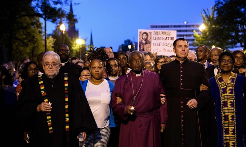 Bishop Michael Curry with the Reclaiming Jesus group in Washington.