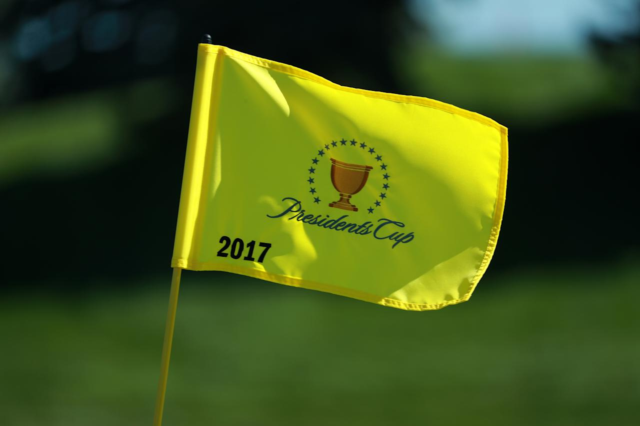 <p>A Presidents Cup pin flag is seen during the first round of the Presidents Cup at Liberty National Golf Club on Sept. 28, 2017, in Jersey City, N.J. (Photo: Scott Halleran/PGA TOUR) </p>
