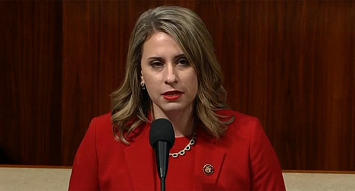Rep. Katie Hill gives her farewell address on the House floor. (Screengrab via CSPAN)