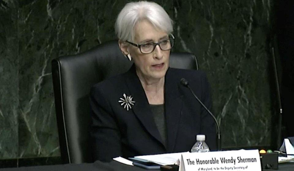 """Deputy US Secretary of State Wendy Sherman, shown in a screenshot during her Senate confirmation hearing, said the US and EU hope to pursue """"constructive engagement with China"""" on issues like climate change and nuclear non-proliferation."""