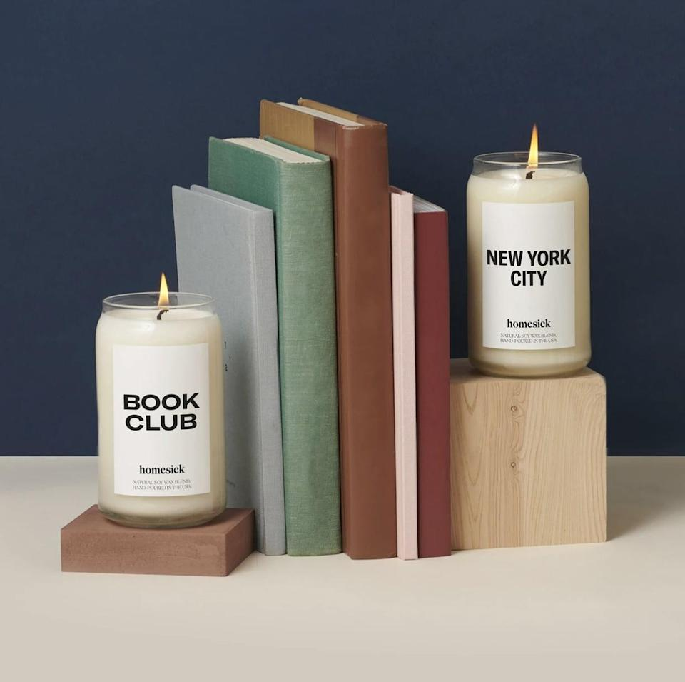 <p>These <span>Book Club Candles</span> ($34) feature delightful orange and nutmeg notes.</p>