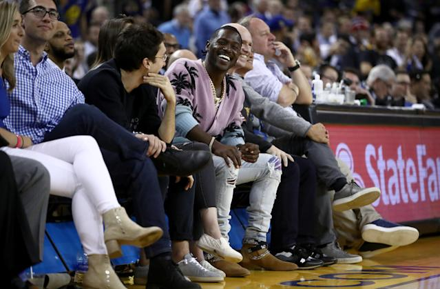 NFL player and a new player for the Oakland Raiders Antonio Brown sits court side during the Golden State Warriors game against the Denver Nuggets at ORACLE Arena on April 02, 2019 in Oakland, California. (Photo by Ezra Shaw/Getty Images)