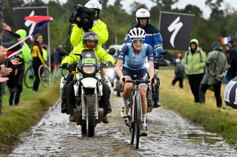 Lizzie Deignan rode alone over all the cobbled sections on her way to becoming the first ever woman to win a Paris-Roubaix race (AFP/ERIC LALMAND)
