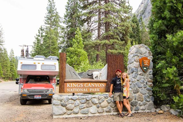 <p>Cees, Madison and Vladimir at Kings Canyon National Park in California's Sierra Nevada mountains. (Photo: Our Vie / Caters News) </p>