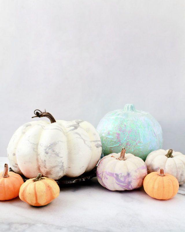 """<p>If you can't get enough of pretty pastels and iridescent colors, make sure your pumpkins get the unicorn treatment.<br></p><p><em><strong>Get the tutorial from <a href=""""https://ohsobeautifulpaper.com/2016/10/diy-iridescent-pumpkins/"""" rel=""""nofollow noopener"""" target=""""_blank"""" data-ylk=""""slk:Oh So Beautiful"""" class=""""link rapid-noclick-resp"""">Oh So Beautiful</a>.</strong></em> </p>"""
