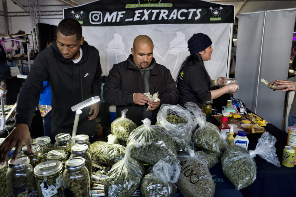 FILE - This Saturday, Dec. 29, 2018, file photo shows vendors from MF Extracts counting their intake of cash at their booth at Kushstock 6.5 festival in Adelanto Calif. The leading cannabis industry group in California announced Tuesday, Jan. 19, 2021, it had reached an agreement with a state credit union that will provide access to checking and other banking services for marijuana companies, ending what had been a longstanding obstacle for many businesses. (AP Photo/Richard Vogel, File)