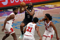 Brooklyn Nets guard James Harden (13) drives to the basket past Chicago Bulls forward Thaddeus Young during the second half of an NBA basketball game Saturday, May 15, 2021, in New York. (AP Photo/Adam Hunger)