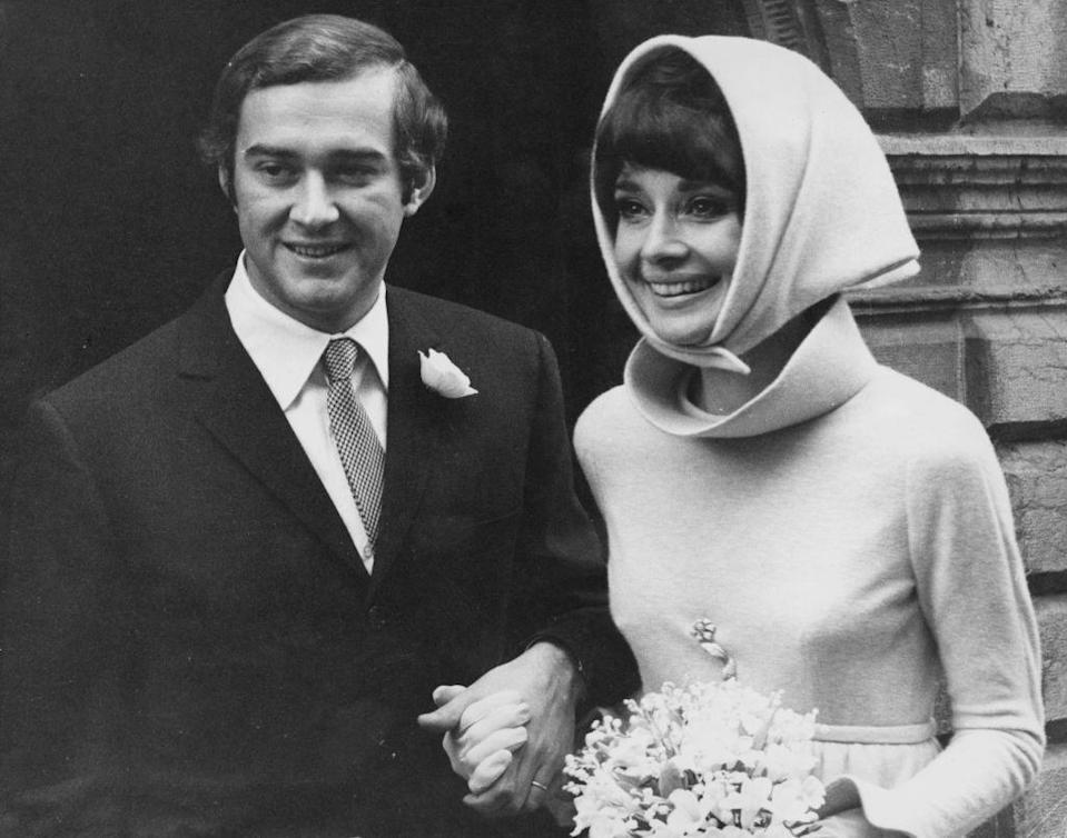 <p>The <em>Breakfast at Tiffany's</em> star and the Italian psychiatrist pose for a photo after their wedding on January 18th, 1969. They remained married until 1982. Dotti's marriage to Hepburn was his sole union, while he was her second husband. </p>