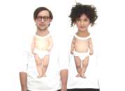 """<div class=""""caption-credit""""> Photo by: Evian</div>A follow-up to Roller Babies, Evian launched two more not-quite-right baby commercials in 2011. In these, adults brought out their inner babies by wearing shirts digitally printed with baby bodies. If that didn't confuse you into buying more spring water, Evian also launched <a rel=""""nofollow noopener"""" href=""""http://letsbabydance.evian.com/"""" target=""""_blank"""" data-ylk=""""slk:Let's Baby Dance"""" class=""""link rapid-noclick-resp"""">Let's Baby Dance</a>, a site that allows users to superimpose a dancing baby body under their faces."""