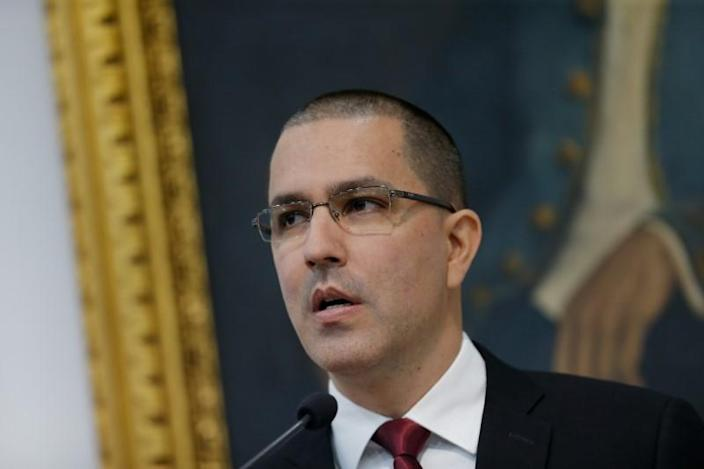 Venezuela's Foreign Minister Jorge Arreaza attends a news conference in Caracas