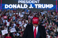 President Donald Trump arriving for a campaign rally at Richard B. Russell Airport, Sunday, Nov. 1, 2020, in Rome, Ga. (AP Photo/Evan Vucci)