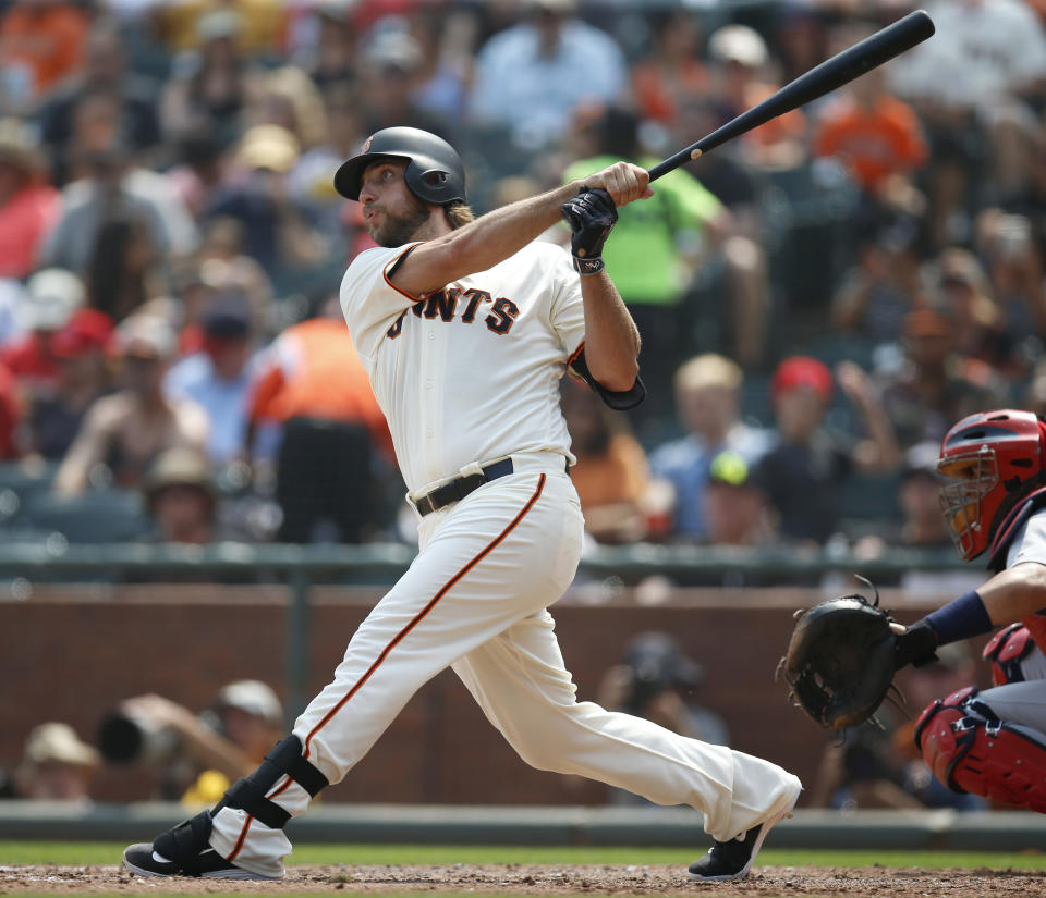 San Francisco Giants starting pitcher Madison Bumgarner (40) hits a solo home run against the St. Louis Cardinals in the fifth inning at AT&T Park in San Francisco, Calif., on Sunday, September 3, 2017. (Nhat V. Meyer/Bay Area News Group) (Photo by MediaNews Group/Bay Area News via Getty Images)