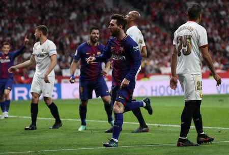 Soccer Football - Spanish King's Cup Final - FC Barcelona v Sevilla - Wanda Metropolitano, Madrid, Spain - April 21, 2018 Barcelona's Lionel Messi celebrates scoring their second goal REUTERS/Susana Vera