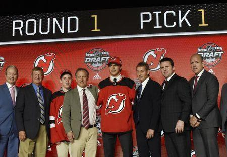 June 23, 2017; Chicago, IL, USA; Nico Hischier poses for photos after being selected as the number one overall pick to the New Jersey Devils in the first round of the 2017 NHL Draft at United Center. Mandatory Credit: David Banks-USA TODAY Sports