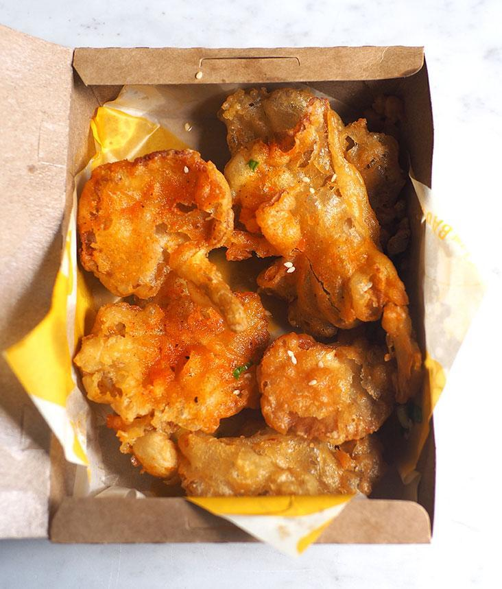 The fried oyster mushrooms stayed crispy even after delivery