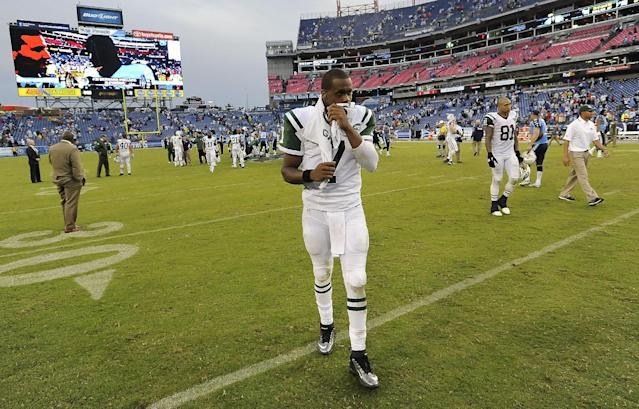 New York Jets quarterback Geno Smith (7) leaves the field after losing to the Tennessee Titans 38-13 in an NFL football game on Sunday, Sept. 29, 2013, in Nashville, Tenn. (AP Photo/Mark Zaleski)