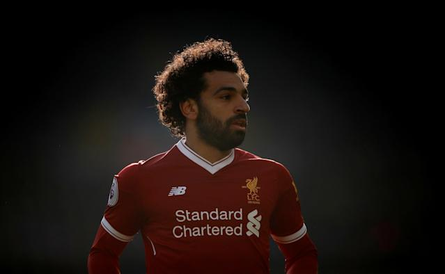 """Soccer Football - Premier League - Liverpool vs West Ham United - Anfield, Liverpool, Britain - February 24, 2018 Liverpool's Mohamed Salah Action Images via Reuters/Carl Recine EDITORIAL USE ONLY. No use with unauthorized audio, video, data, fixture lists, club/league logos or """"live"""" services. Online in-match use limited to 75 images, no video emulation. No use in betting, games or single club/league/player publications. Please contact your account representative for further details."""