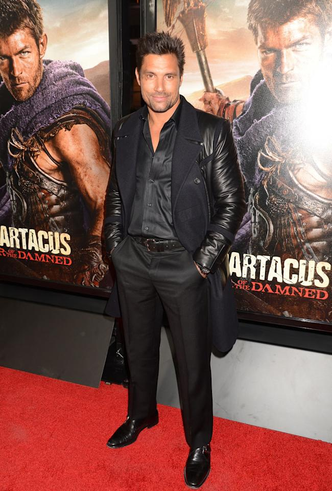 "Manu Bennett attends the premiere of Starz's ""Spartacus: War of the Damned"" at Regal Cinemas L.A. Live on January 22, 2013 in Los Angeles, California."