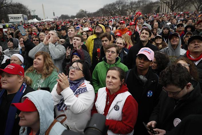 <p>Spectators gather on the National Mall during the inauguration of President-elect Donald Trump, Friday, Jan. 20, 2017, in Washington. (Photo: John Minchillo/AP) </p>