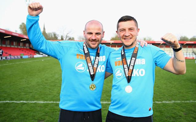 "Salford City, the non-league club co-owned by Manchester United's 'Class of '92', have parted ways with the joint managers who guided them to three promotions in four years. Bernard Morley and Anthony Johnson celebrated promotion to the Vanarama National League for the first time in the club's history last month, but 'irreconcilable differences' over personal terms have seen them depart. The pair's uncompromising methods were detailed in a television series depicting Salford's journey following a takeover by Singaporean businessman Peter Lim and a consortium of Gary Neville, Phil Neville, Paul Scholes, Ryan Giggs and Nicky Butt. In a statement, Gary Neville said: ""The last four seasons with the managers have been the most successful in the club's history and a huge part of that is down to Anthony and Bernard, so this announcement is regrettable. ""However after a meeting this morning between myself, senior management and the managers it was clear there were differences between us that could not be resolved and it was therefore decided to part ways, and whilst this is disappointing, it is the right decision for all concerned."" Neville before Salford's FA Cup tie with Notts County Credit: Reuters Salford played in Northern Premier League Division One North, the eighth tier of English football, when the 'Class of '92' arrived in 2014. Neville and Lim aimed to bring Championship to Salford within 15 years, and the club will kick off next season just one tier below the Football League. Defeating Notts County, the oldest club in the English league, to reach the FA Cup first-round in 2015-16, was been another highlight of Johnson and Morley's tenure. Former manager Johnson said: ""Although we are naturally disappointed we felt the time was right. To go out on a high, after securing another promotion, makes us ready for the next challenge and although that won't be with SCFC, we are already excited about where that challenge will be."" Co-manager Morley added: ""We have always given everything to SCFC and although we couldn't come to an agreement on our future we would like to thank the club for the opportunities they have given us."""