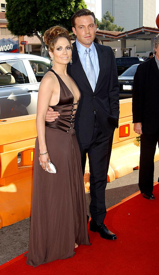 "Ben Affleck began seeing Jennifer Lopez in 2002, but the couple -- dubbed ""Bennifer"" by the press -- broke off their engagement in 2004. Gregg DeGuire/<a href=""http://www.wireimage.com"" target=""new"">WireImage.com</a> - July 27, 2003"