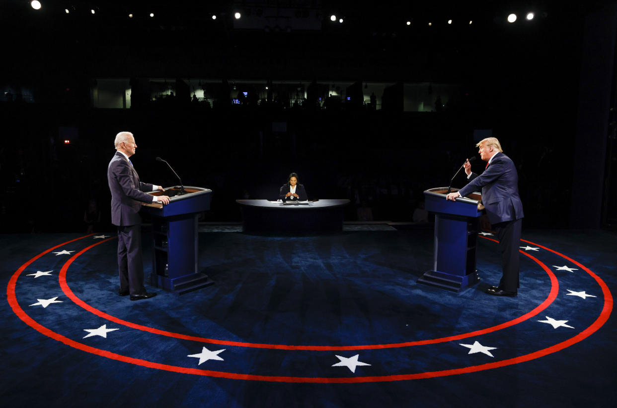 NASHVILLE, TENNESSEE - OCTOBER 22: U.S. President Donald Trump and Democratic presidential nominee Joe Biden participate in the final presidential debate at Belmont University on October 22, 2020 in Nashville, Tennessee. This is the last debate between the two candidates before the November 3 election.  (Photo by Jim Bourg-Pool/Getty Images)
