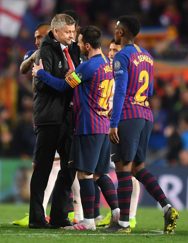 Ole Gunnar Solskjaer embraces Lionel Messi after the UEFA Champions League Quarter Final second leg match between Barcelona and Manchester United at Camp Nou on April 16, 2019 in Barcelona, Spain (Photo by Michael Regan/Getty Images)