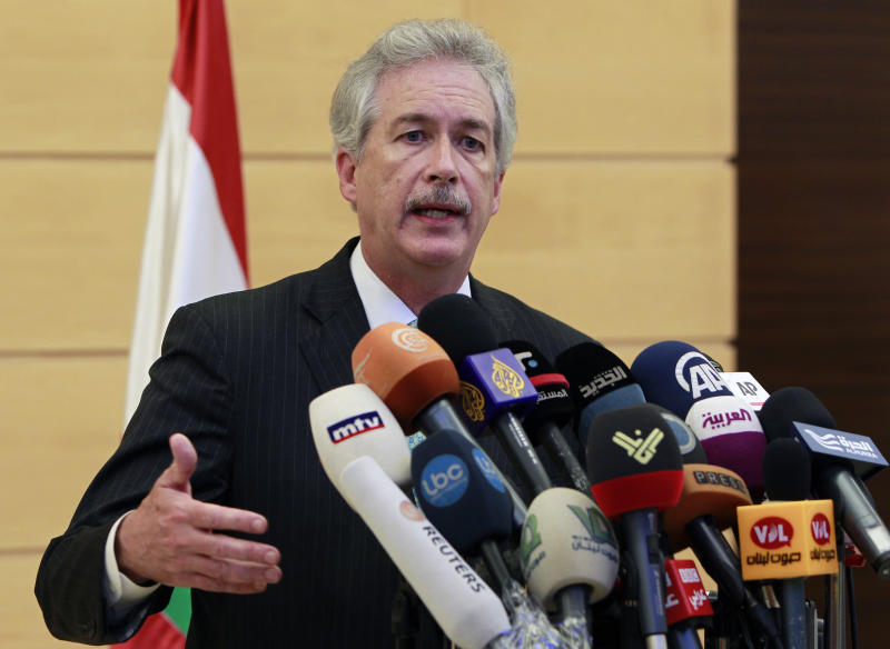 U.S. Deputy Secretary of State William Burns speaks during a press conference at Rafik Hariri International Airport in Beirut, Lebanon, Monday, July 1, 2013. Burns denounced Monday that Hezbollah for its involvement in Syria's civil war and said the Lebanese militant group's actions place the future of Lebanon at risk. (AP Photo/Bilal Hussein)