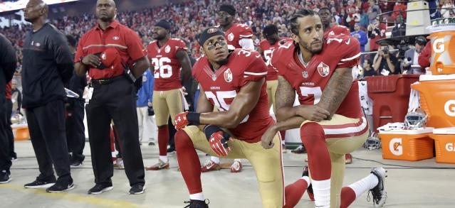 Colin Kaepernick has inspired protests from professional sports on down to high schools. (AP)