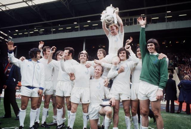 Lorimer celebrates victory over Arsenal in the 1972 FA Cup final with his team-mates
