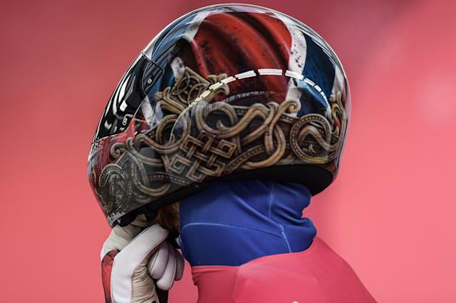 Norway's Alexander Henning Hanssen in the men's skeleton at the 2018 Winter Olympics in PyeongChang, South Korea. (Getty)