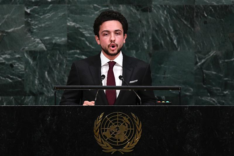 Jordan's Crown Prince Hussein bin Abdullah II addresses the 72nd Session of the United Nations General assembly at the UN headquarters in New York (AFP Photo/Jewel SAMAD)