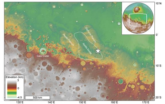 Overview map showing the location of an ancient river delta (star) within Mars' Aeolis Dorsa region, which is found along the boundary between the Red Planet's cratered southern highlands and smooth northern lowlands.