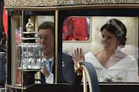 <p>Their path was shorter than the one travelled by Prince Harry and Meghan Markle in May. Photo: Getty </p>