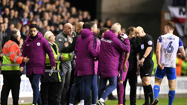 Following clashes between the two sets of players in an FA Cup game against Wigan Athletic, Manchester City have been fined £50,000.