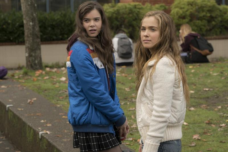 """This image released by STX Films shows Hailee Steinfeld, left, and Haley Lu Richardson from the film, """"The Edge of Seventeen."""" (Murray Close/STX Films via AP)"""
