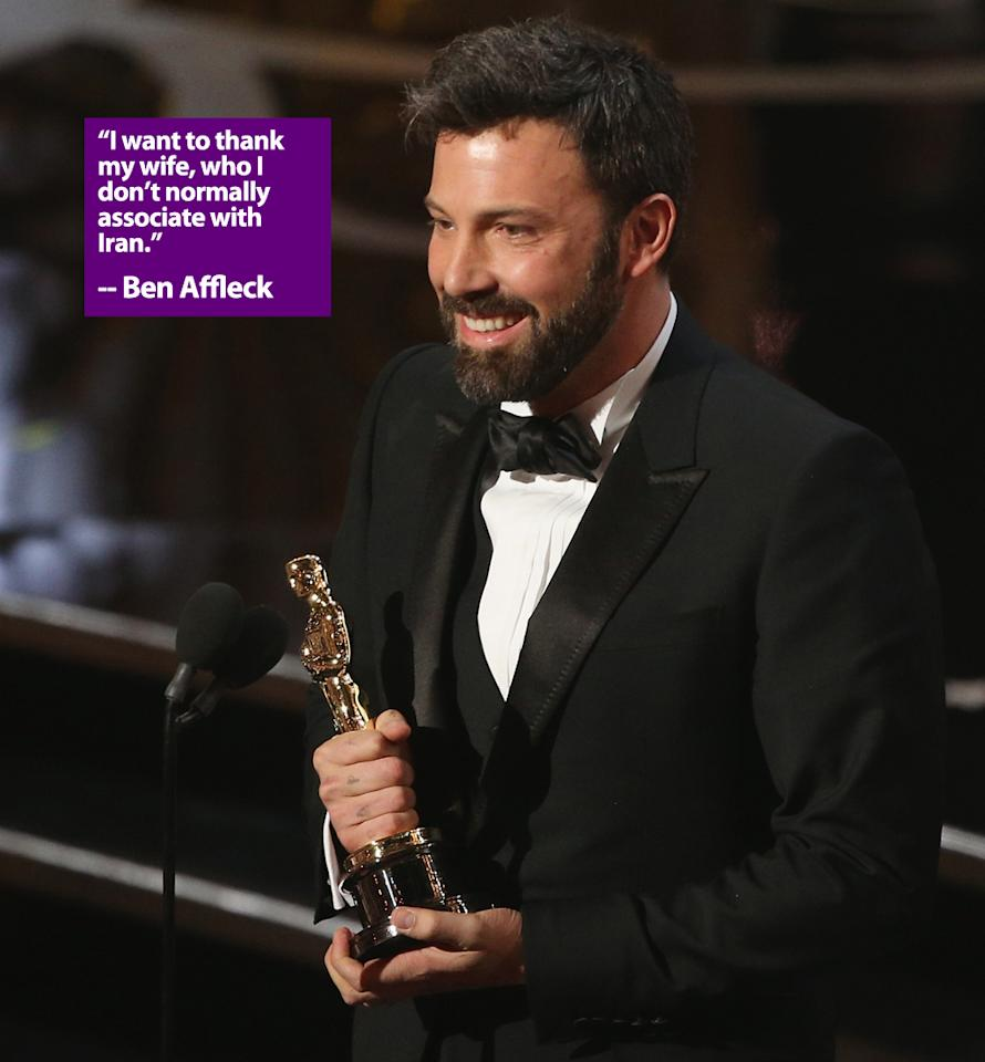 Actor/Producer Ben Affleck onstage stage during the Oscars held at the Dolby Theatre on February 24, 2013 in Hollywood, California.