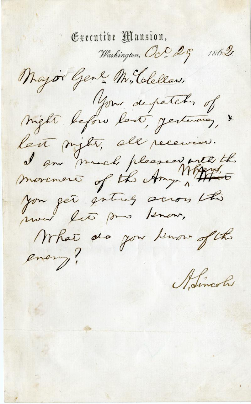 In this undated photo released by Nathan Raab, a rare letter written by President Abraham Lincoln to Maj. Gen. George B. McClellan on Oct. 29, 1862 is seen.  The Raab Collection in Philadelphia is selling the document, which for decades has belonged to an anonymous private collector. The asking price is $100,000.  (AP Photo/Coutesy of the Raab Collection)
