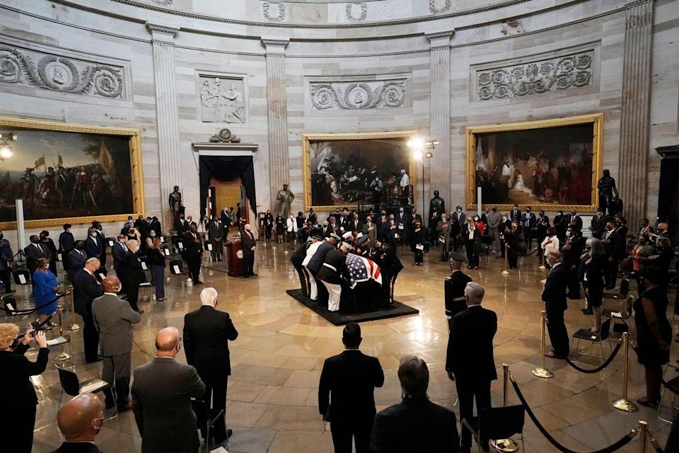 <p>The flag-draped casket of the late Rep. John Lewis, D-GA, a key figure in the civil rights movement and a 17-term congressman from Georgia, lies in state in the Rotunda of the US Capitol in Washington, DC, on July 27, 2020.</p>